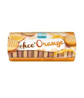 Bolachas recheadas de cacau e laranja
